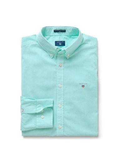 Gant Çizgili Slim Gömlek Yeşil